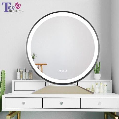 Grande iluminado desktop espelho de maquiagem estilo n rdico toque ajustar brilho temperatura de cor