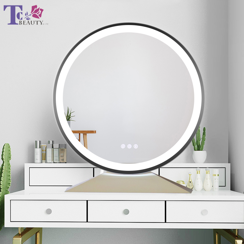 Large Illuminated Desktop Makeup Mirror Nordic Style Touch Adjust Brightness Color Temperature LED Backlit Cosmetic MirrorsMakeup Mirrors   -