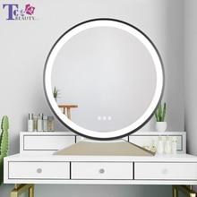 Miroir de maquillage de bureau éclairé, de Style nordique, couleur ajustable, température LED, miroir de cosmétiques, rétroéclairé