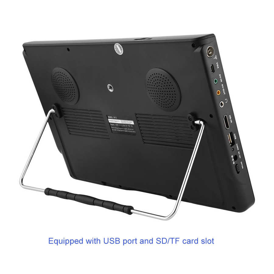 LEADSTAR 12 inch HD Portable TV ISDB-T USB Digital Television Mini Car TV Audio Video Player Support MP4 Monitor EU Plug 14 -
