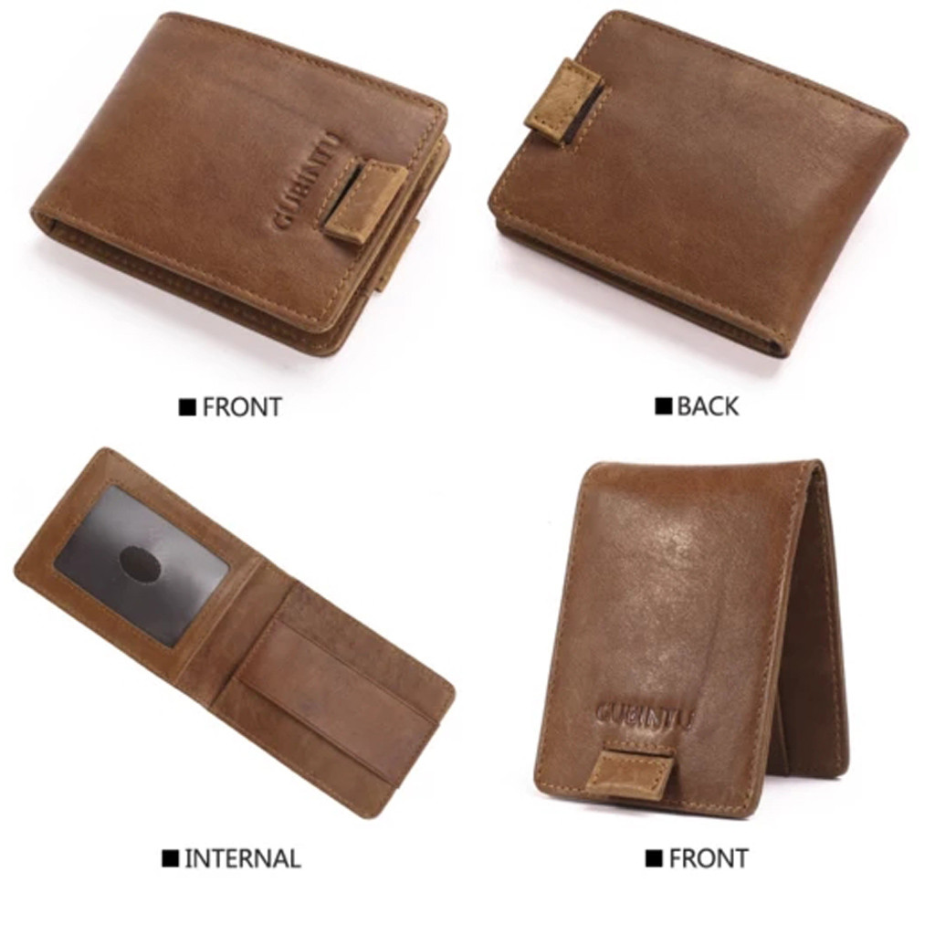 Men Wallets RFID Slim Small Leather Wallet Man With Double Pull-out Antimagnetic RFID Purse Carteira