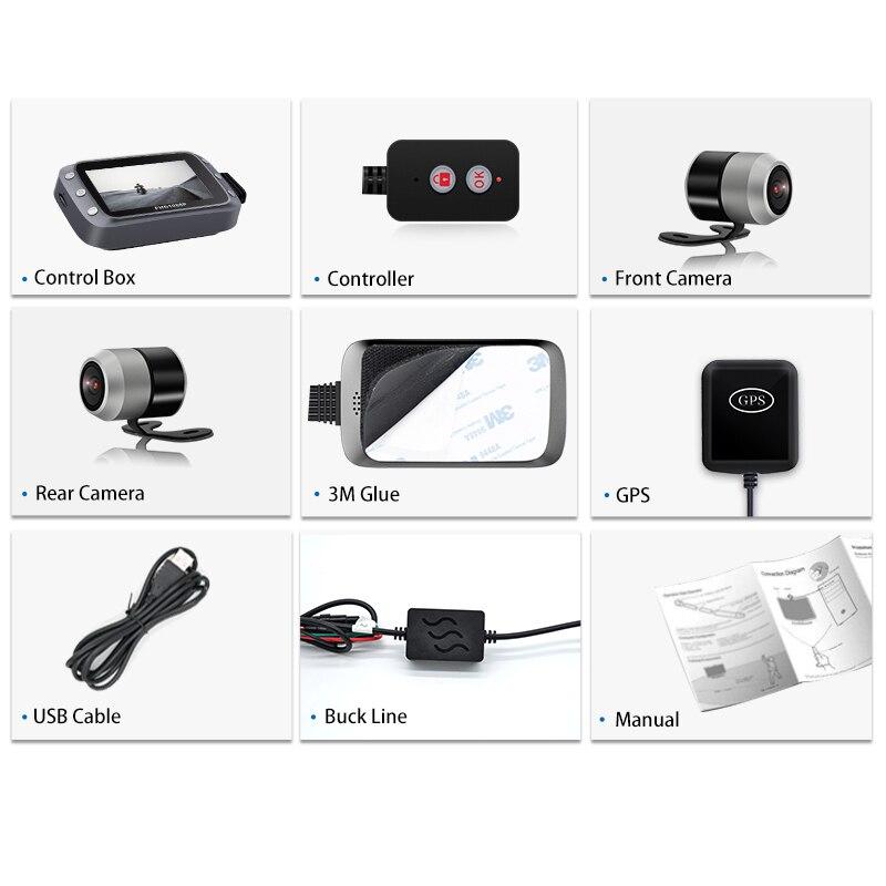 GreenYi WiFi Motorcycle DVR Dash Cam 1080P+1080P Full HD Front Rear View Waterproof Motorcycle Camera GPS Logger Recorder Box 6