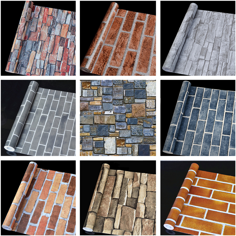PVC Self-adhesive Wallpaper Brick Pattern Restaurant Imitation Brick Retro Wall Paper Clothing Store Decoration Waterproof Bar