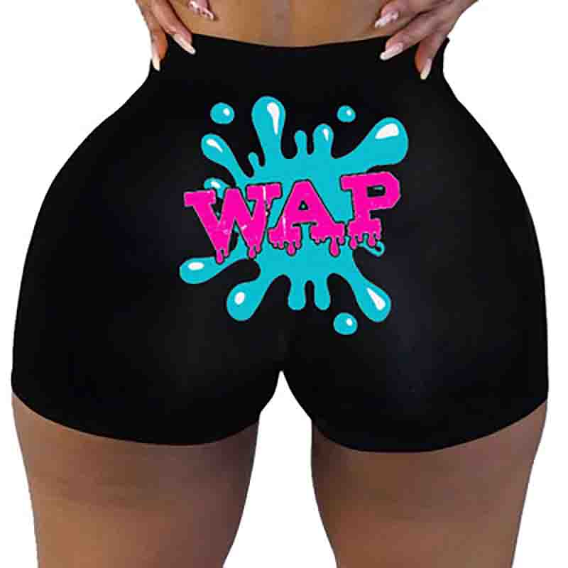 European And American Hot Style Women's Printed Tight-Fitting Hip Shorts Casual Sports And Fitness Women's Shorts
