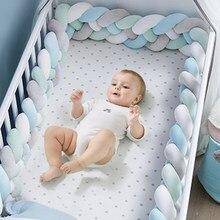 1M/2M/3M bebek beşik koruyucu düğüm bebek yatağı tampon dokuma peluş bebek beşik yastık yenidoğan kreş yatak tampon odası dekor