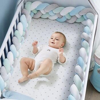 1M/2M/3M Protector de cuna de bebé nudo parachoques de cama de bebé tejido de felpa cojín de cuna para recién nacidos guardería cama parachoques decoración de habitación
