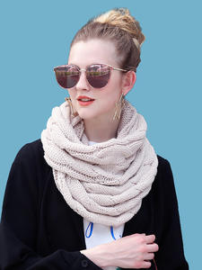 Ring Scarf Infinity-Scarves Circle-Cable Knitted Snood Neck Warm Female Soft Women
