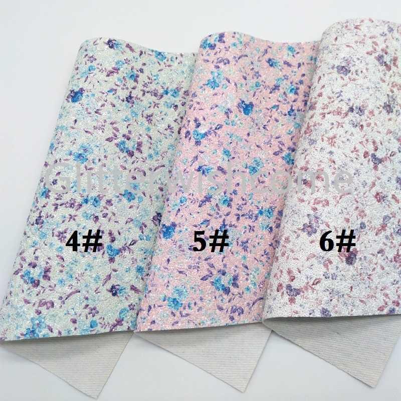 Glitterwishcome 30X134CM Mini Rotolo di Tessuto Glitter, Fiori Chunky Glitter In Pelle, faux DELL'UNITÀ di ELABORAZIONE del tessuto di Cuoio Del Vinile per Archi, GM398