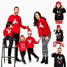 New Children Clothing Christmas Stripes Print Family Parent-child Suit Printing Sweater Cotton Soft Two-piece