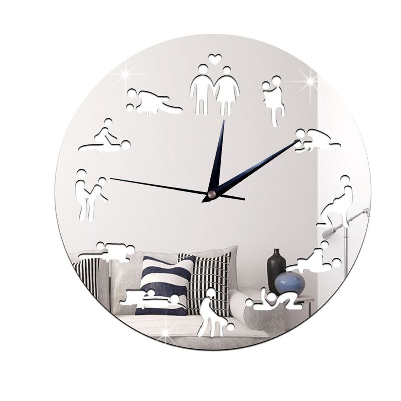 Modern Design <font><b>Sex</b></font> Position Mute <font><b>Wall</b></font> Clock For Bedroom <font><b>Wall</b></font> Decoration Silent Clock <font><b>Watch</b></font> Wedding Gift <font><b>Wall</b></font> Clocks Silver image