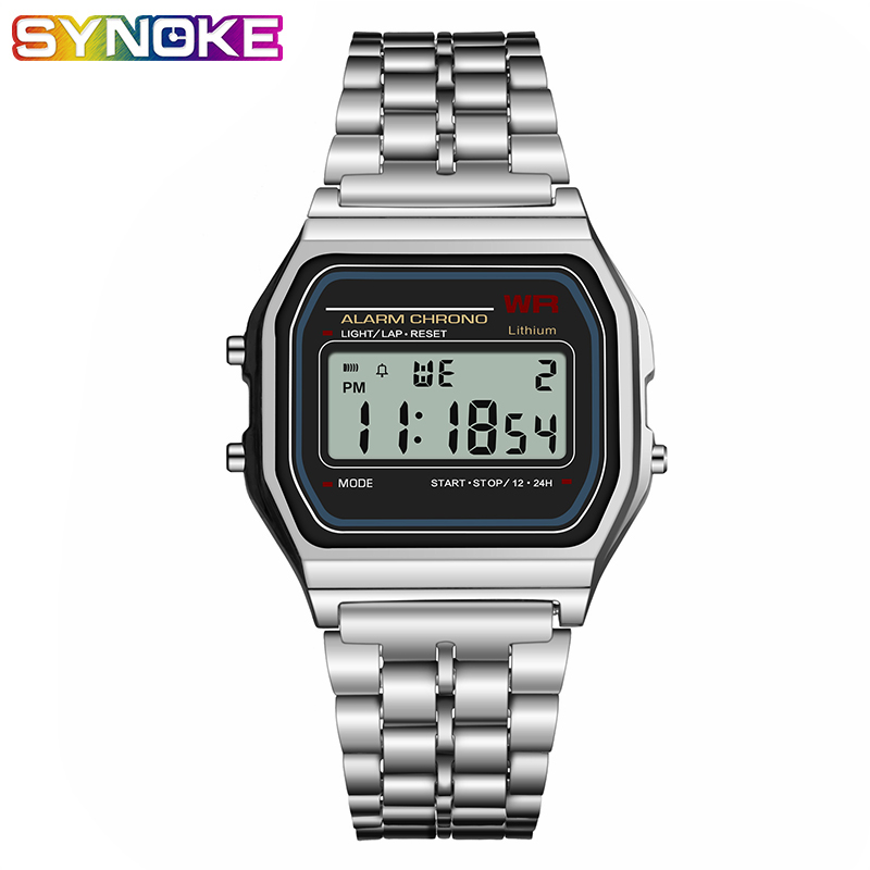 SYNOKE Men's Digital Watches LED G Ladies Watch Vintage Square Shock Life Waterproof Gift For Men Electronic Gold Relojes Clock