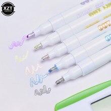 Marca-texto colorido, caneta marcadora fluorescente para escrita e desenho com linha dupla