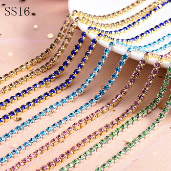 10 yards SS16 rhinestones cup chain crystal stones Copper cup chain DIY Decorations glue on rhinestones chain sewing rhinestones фото