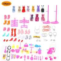 106 Uds. De muñeca accesorios casa juguetes de tela de bebé vestido de ropa para muñeca Barbie