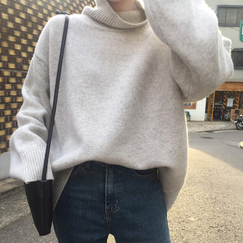 2019 Solid Sweater Women Turtleneck Sweater Female Knit Pullover Winter Loose Long Sleeve Jumper Soft Warm Ladies Tops