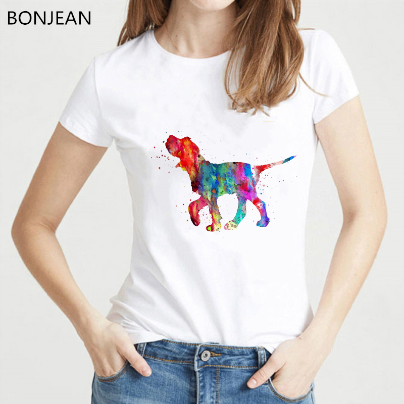 Pretty Italian Spinone Watercolor T-Shirt Summer Women Tee Shirt Femme Funny Dog Lover Design Girl Tops Tshirt Female Tumblr