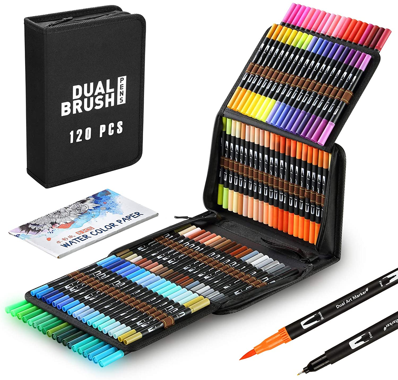 Dual Tips Watercolor Brush Pens 120 Colors Coloring Art Marker for Calligraphy Drawing Sketching Coloring Bullet Journal Art
