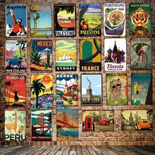 [ DecorMan ] France London Mexico Russia Switzerland Travel Tin Signs Custom wholesale Metal Paintings Bar PUB Decor LT-1790 поло print bar mexico