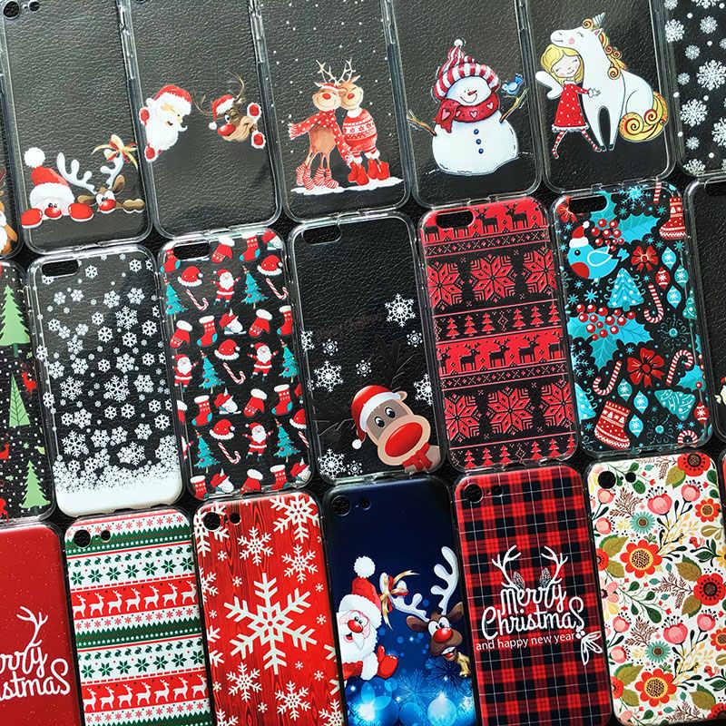 Noël nouvel an cadeaux elk neige coque de téléphone pour iphone 11 PRO XR 6s 7 Plus 5s X XS MAX TPU coque en silicone pour huawei P30 P20 Lite