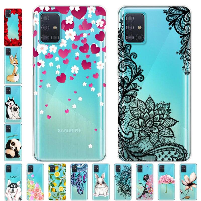 For Samsung A51 A71 Case TPU Silicone Soft Cartoon Clear Case for Samsung Galaxy A71 Phone Cover A12 A42 5G Transparent Coque