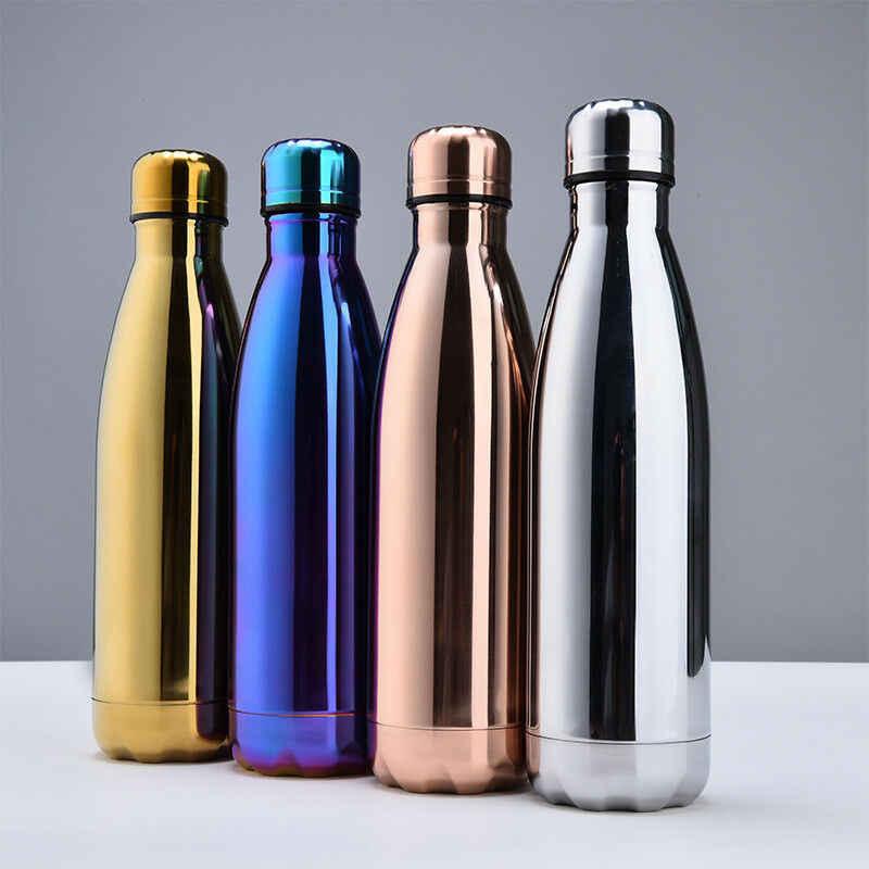 500 مللي السفر القدح ترمس الماء حامل زجاجات نبيذ ثنائي من الفولاذ المقاوم للصدأ جدار كوب حراري زجاجة فراغ كوب مدرسة المنزل الشاي القهوة شرب زجاجة