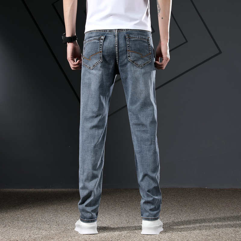 KSTUN Men's Jeans Classic Straight Regular Fit Grey Blue Stretch Jeans for Men Spring Summer Casual Denim Pants Long Trousers 15