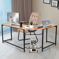 Hight Quality reliable Steel Frame Wood Top Home Office L-Shaped Corner Study Computer Desk Large Worktop Business Study Table