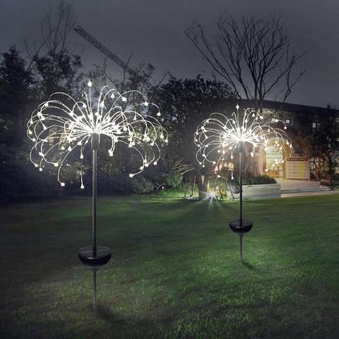 diodo emissor de luz solar 90 led oito modos funcao dandelion gramado luzes grama fogos