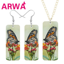 ARWA Acrylic Rectangle Monarch Butterfly Jewelry Sets Long Flower Insect Animal Necklace Earrings For Women Girls Birthday Gift(China)