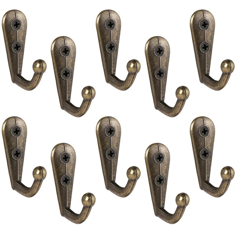 10pcs Coat Hooks Heavy Duty Wall Mounted Hanger Antique Closet Hooks European Wrought Iron Coat Hook For Towel Clothes