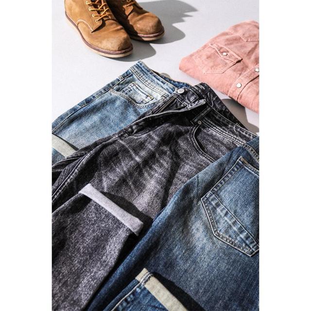 Simwood 2020 新ジーンズ男性古典的なジーンズ高品質ストレート脚男性カジュアルパンツプラスサイズのズボン 180348