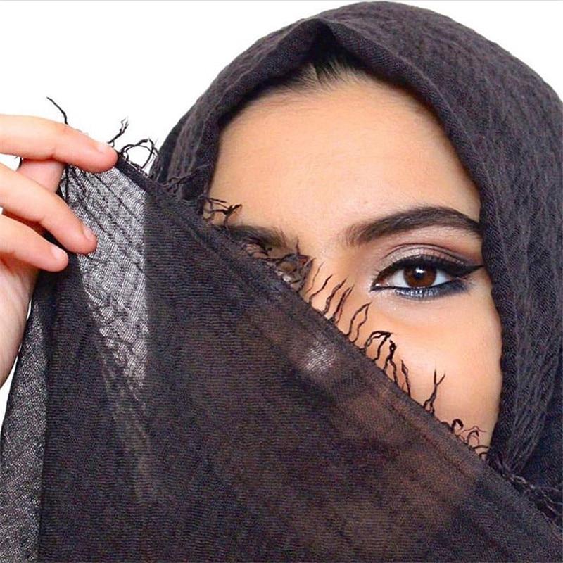 Foulard hijab froissé en coton doux pour femme musulmane, 70x175cm, prix de gros