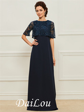 A-Line Floor-Length Scoop Neckline Beading Lace Half Sleeves Mother of the Bride Dress With Chiffon 2021