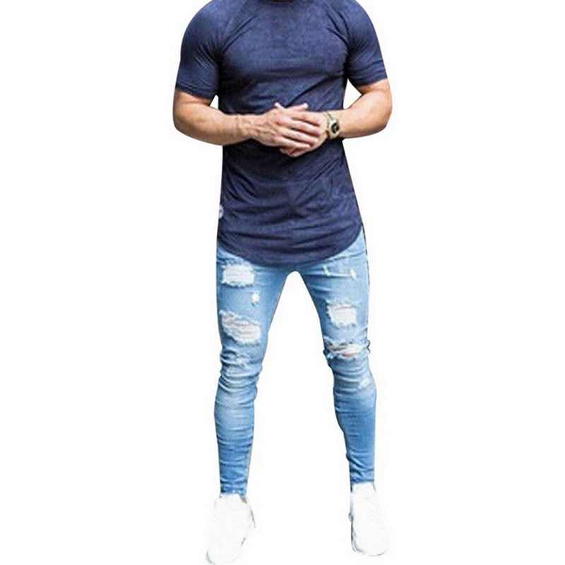 Autumn Ripped Skinny Jeans Men Light Blue Denim Pants 2019 Hip Hop Male Trousers Casual Hole Jeans Homme Streetwear Bottoms