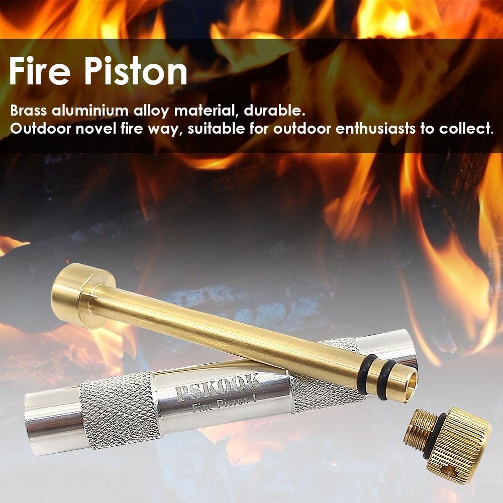 Brass Fire Piston Kit Outdoor Emergency Tool Aluminium Fire Starter Tube