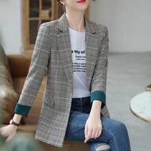 Stylish high quality checked women's blazer Feminine new jacket in spring and au