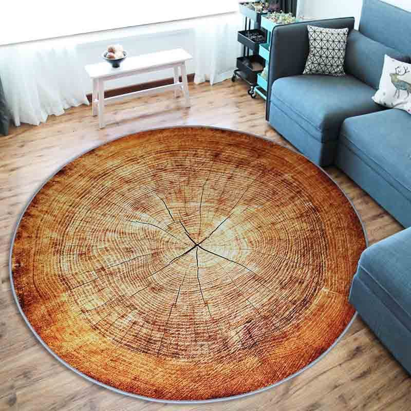<font><b>3D</b></font> Dry Wood Grain Ring Large Round Carpet For Living Room Bedroom Kids Room Chair Table Floor Rug <font><b>tapetes</b></font> para casa Anti-Slip image
