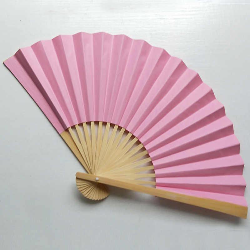 Chiński styl ręczny wentylator papier bambusowy składany wentylator ręczny ślub wentylator ręczny kwiat spersonalizowany taniec upominek weselny