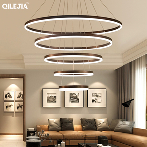 Image 5 - Modern chandelier for living room Brushed Coffee Circular Rings In Coffee LED Chandelier for Living Room Suspension Lamp Fixture