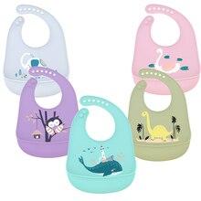Silicone Waterproof Baby Bibs for Feeding Food Soft Adjustable Burp Cloth Baby Stuff Animals Bib Cute Cartoon Elephant Baby Bib