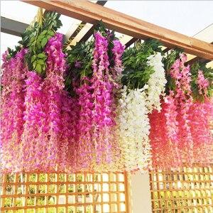 6Pcs Wisteria Vine Artificial Flowers Silk Garland Arch Wedding Decoration Home Garden Decoration Hanging Plant Wall Decor