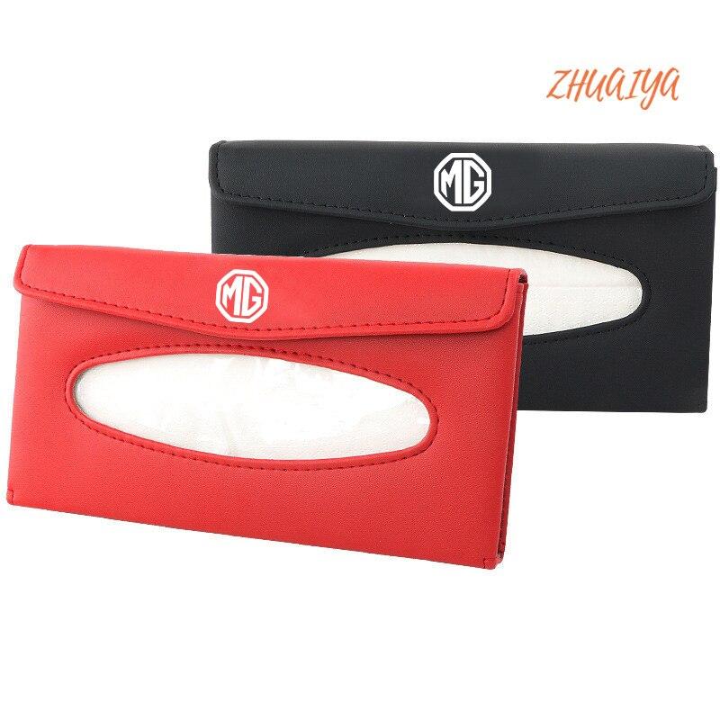 1set Car Tissue Box Car Sun Visor Towel Sets Accessories For MG logo zs gs 350 tf orkina gt zr gundam