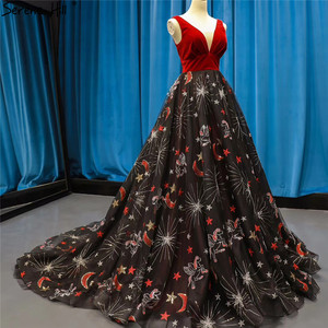 Image 4 - Red Black Embroidery Sepuins Sexy Evening Dresses 2020 A Line Neck Sparkle Formal Dress Serene Hill HM66808