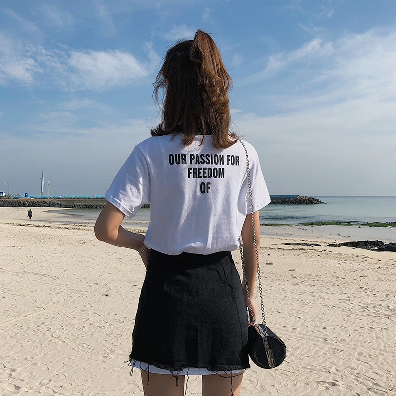 [Dowisi] 2018 Summer Korean-style New Style College Style Short Sleeve T-shirt + Denim Skirt Two-Piece Set F6569