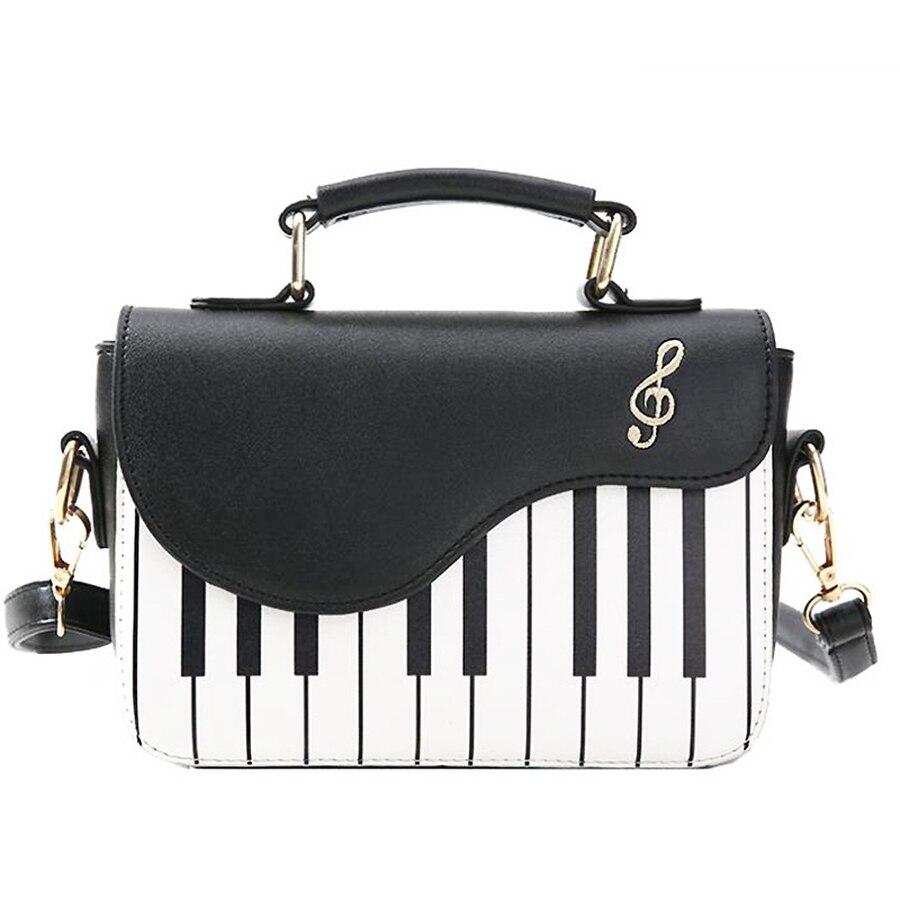 Cute Funny Piano Pattern Handbags Women Shoulder Bag Fashion Pu Leather Lolita Ladies Crossbody Messenger Bag Totes Women Flap