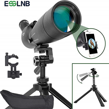 20-60x80 Angled Waterproof Spotting Scope With Adjustable Tripod& Phone Adapter  Monocular Telescope For Target Shooting Hunting new eyeskey 20 60x80 waterproof spotting scope zoom spotting scope full multicoated birdwatching monocular telescope with tripod page 4