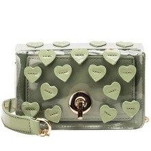 Heart-shaped Transparent Bag For Women Handbag Small Chain Crossbody Bags Ladies Beach Mini PU Leather PVC Messenger