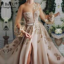 Robe de soirée en dentelle et perles couleur Champagne, manches bouffantes, sequins, Tulle, jambe douverture, robe élégante, modèle 2020