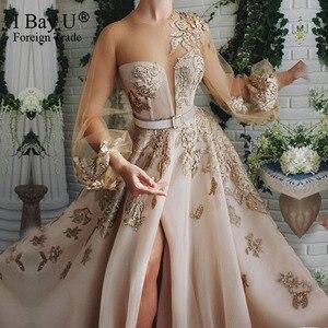 Image 1 - Szampana koronki z koralikami suknia wieczorowa 2020 Puffy rękawem cekiny tiul formalna suknia wieczorowa otwarcie nogi linii