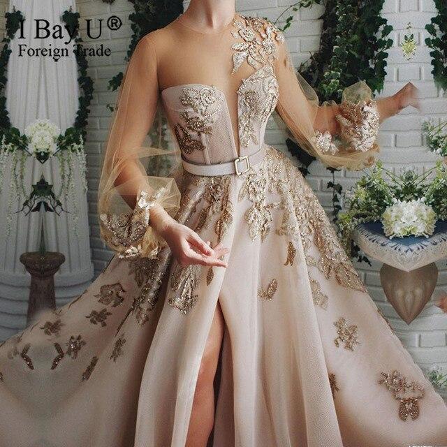 Szampana koronki z koralikami suknia wieczorowa 2020 Puffy rękawem cekiny tiul formalna suknia wieczorowa otwarcie nogi linii
